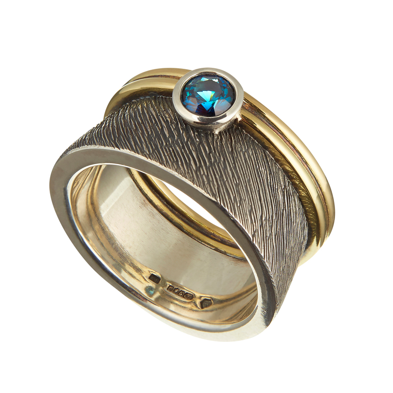 Silver and gold ring with tourmaline