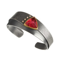Silver and gold cuff with tourmaline and diamond