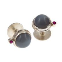 Silver cufflinks with moonstone and ruby