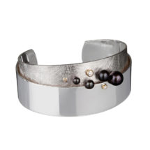 Silver and gold cuff with pearls and diamonds