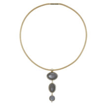 Gold necklace with moonstones and diamonds