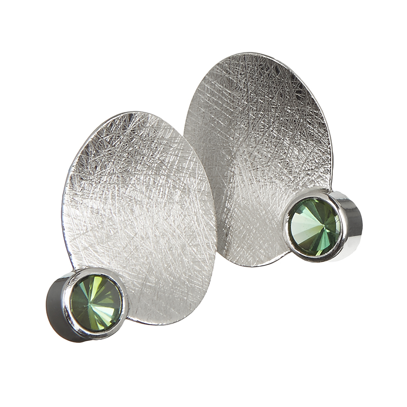 Palladium earstuds with tourmalines