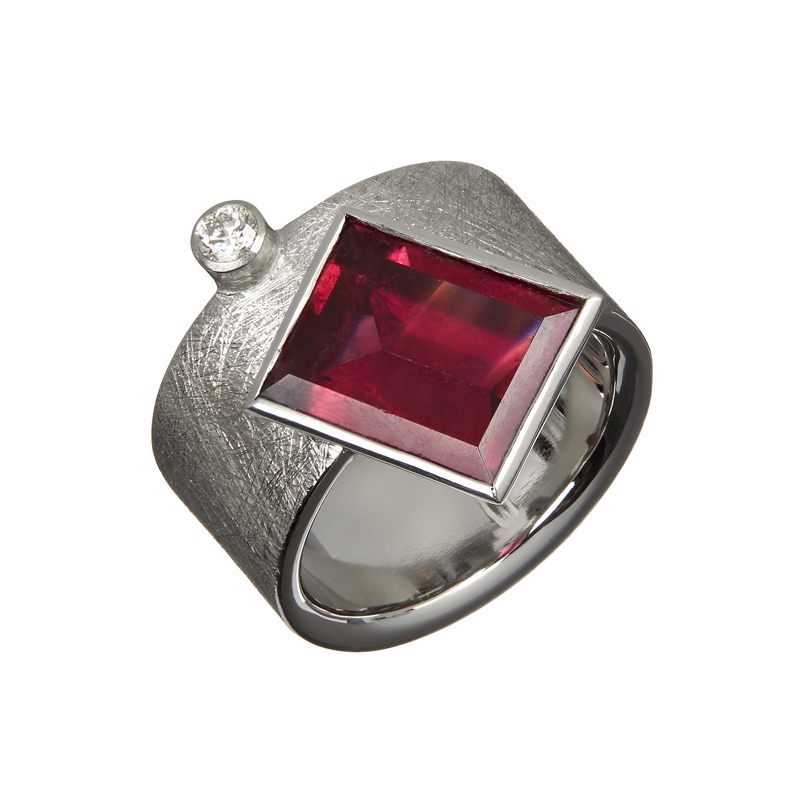Palladium ring with rubelite and diamond
