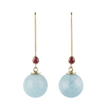 Gold earrings with aquamarine and ruby