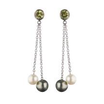 Palladium earrings with mali garnets, tahitian pearls and fresh water pearls