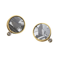 Gold ear studs with silicon and diamond