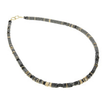 Gold and hematite necklace